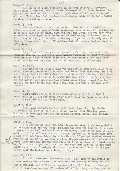 Letter home – June 24, 1943 | WWII Diary of Chick Bruns - 70 Years Ago